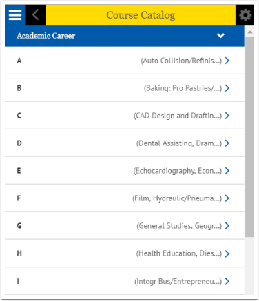 Course Catalog categories