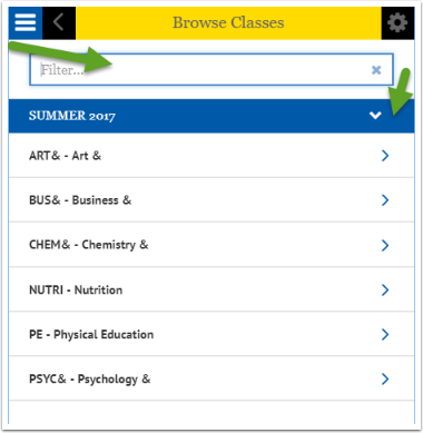 Browse Classes Search box