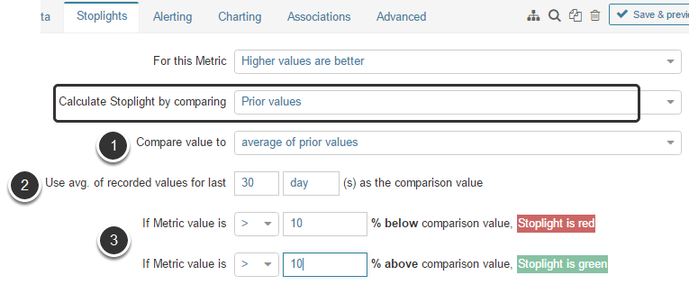 Calculate by comparing to 'Prior values' (average of prior values)