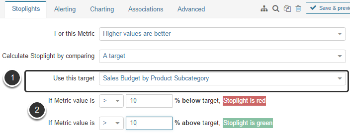 Calculate by comparing to 'a target'