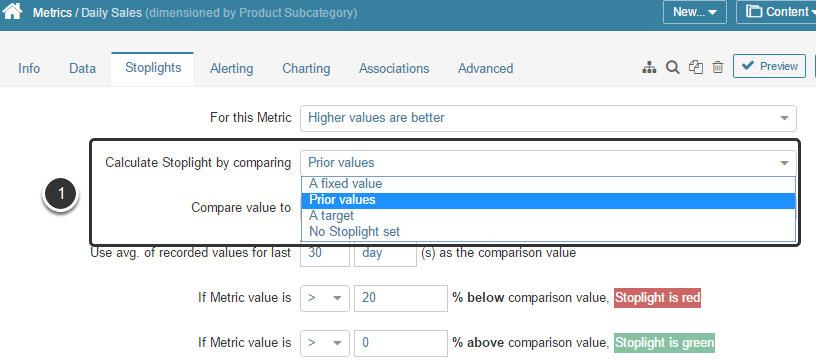 If For this Metric 'Higher / Lower values are better'