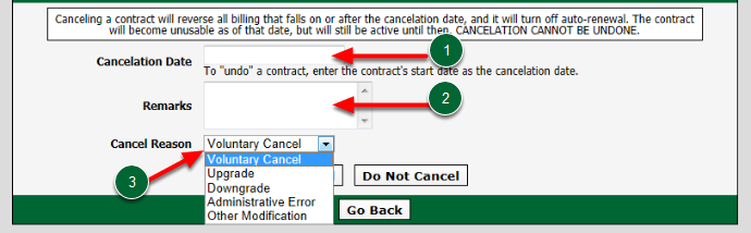 Set Cancel Options