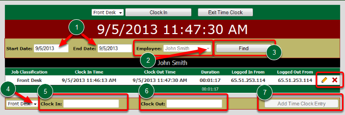 Edit Time Clock Entries