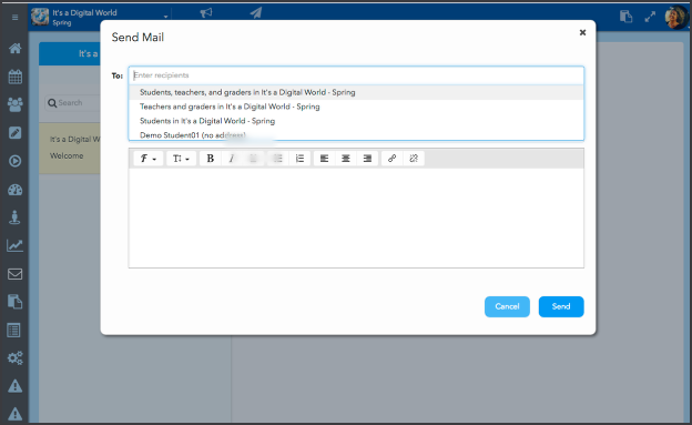 Messaging students with the Students and Communication tools