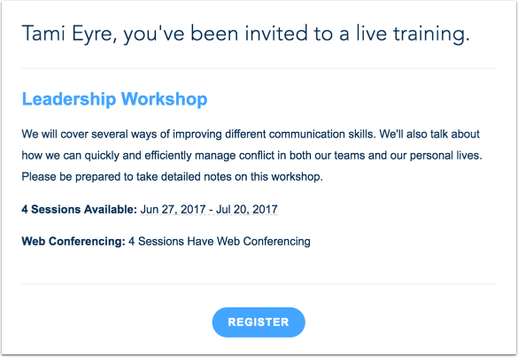 View Notifications for Live Trainings