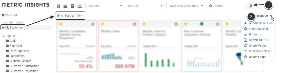 Tile View / Customizing Favorite Folders