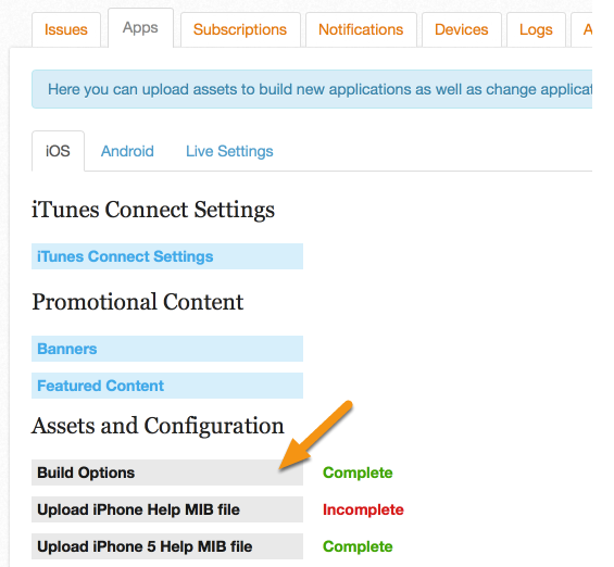 In the Mag+ Publish Portal, go to Apps > iOS > Build Options.