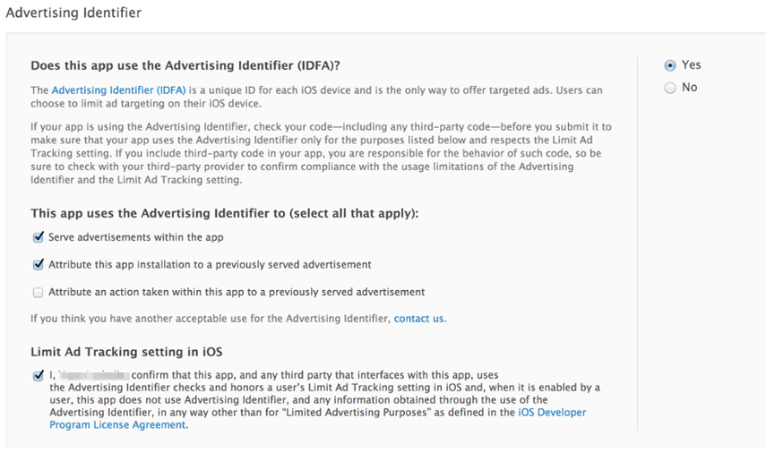 Notifying Apple of Advertising Identifier (IDFA)