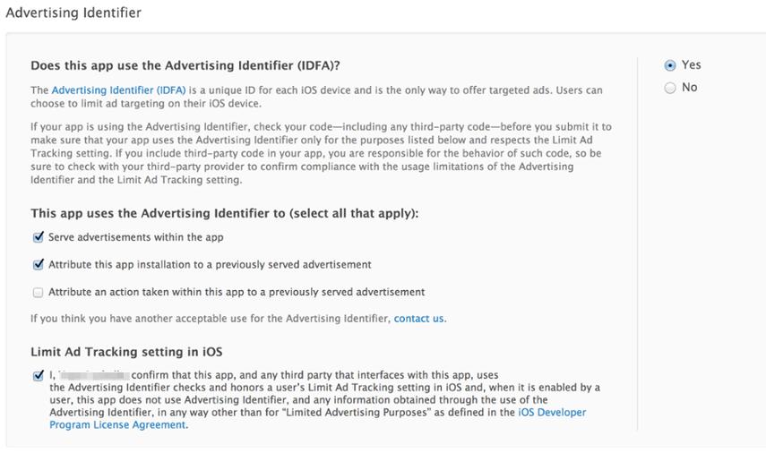 Notifying Apple of Advertising Identifier (IDFA)