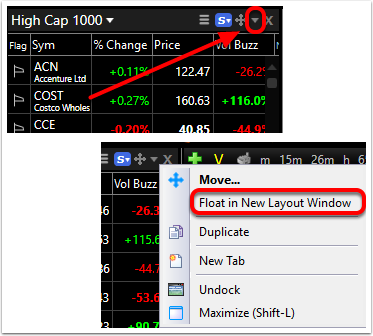 How To Float Tool Windows Software Help Tc2000 Help Site