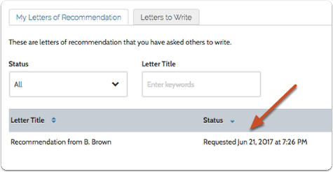 Locate your pending letter request and note the date the request was last sent