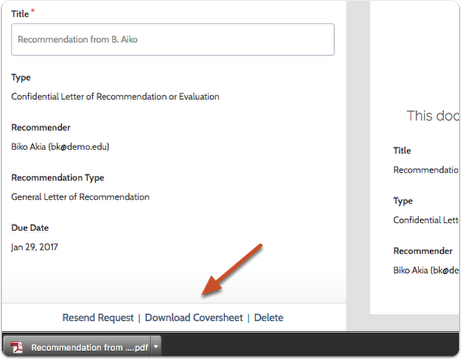 """To send a paper request, click the dropdown arrow and select """"Download Cover Sheet"""""""