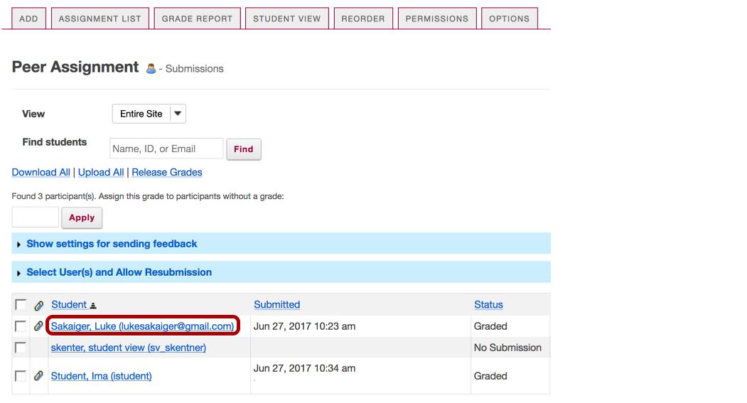 Or, select a student to enter a score adjustment or instructor comments.