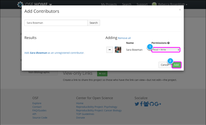 3. Select permissions for a contributor