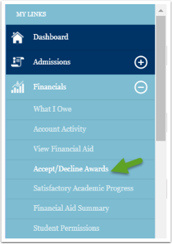 Accept or decline awards menu