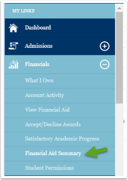 Financial aid summary menu