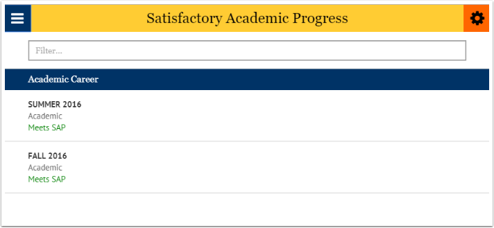 Satisfactory academic progress page