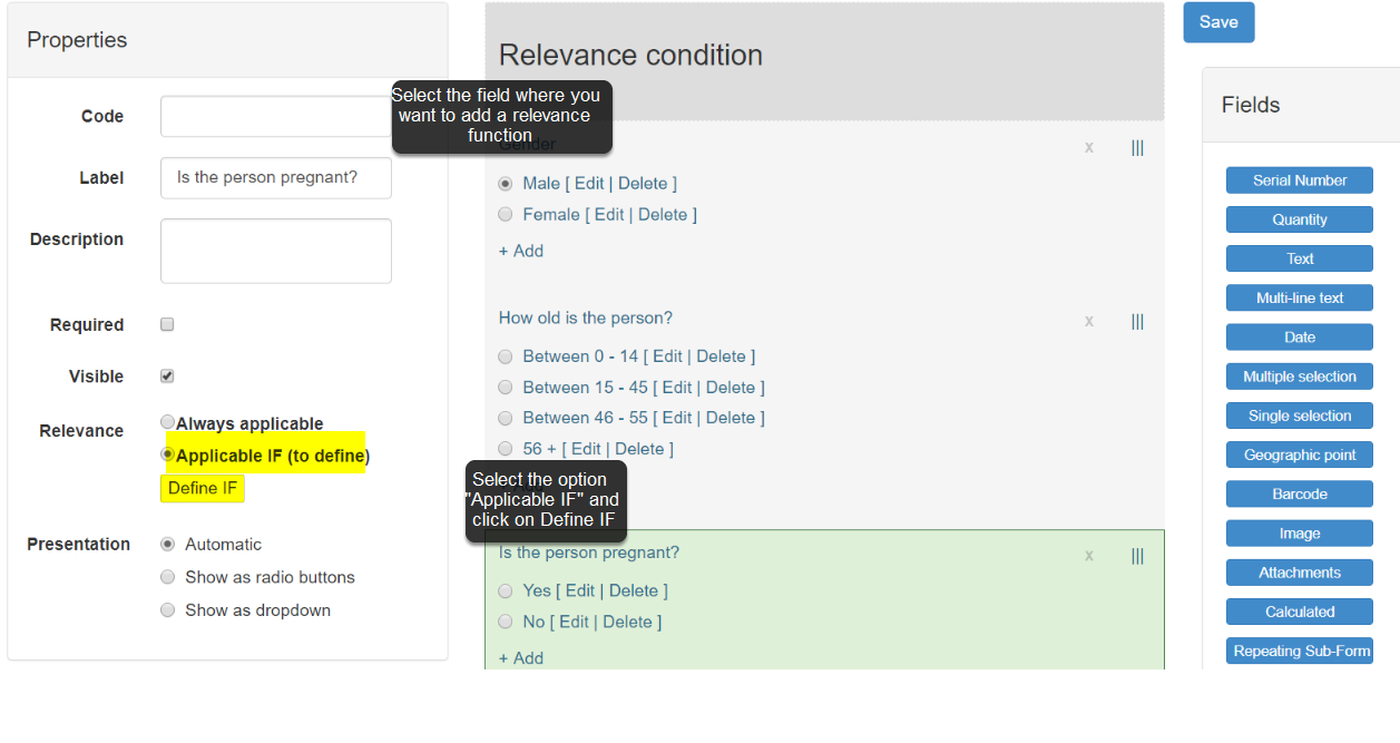 Choose the field where you want to add relevance criteria