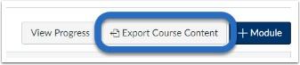 screenshot of export course content