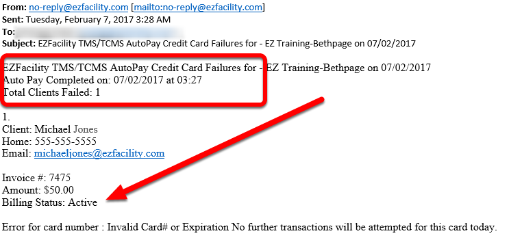 Auto Pay Debit /Credit Card Failure Email