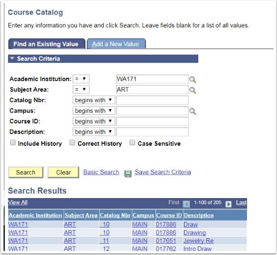 Course Catalog Search Criteria