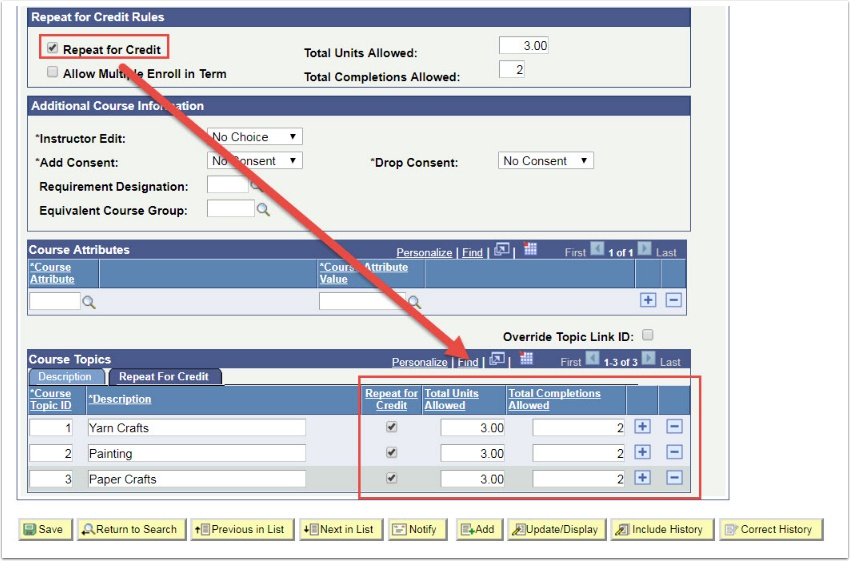 Repeat for Credit Rules page