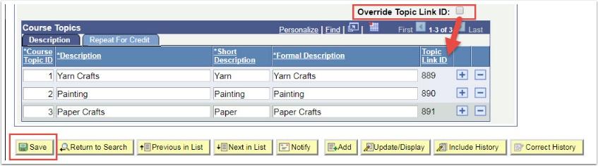 Course Topics-Override Topic Link ID