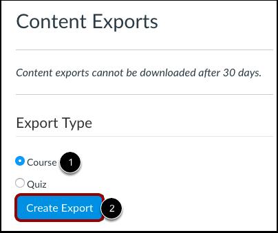 Selecionar Tipo de Exportação