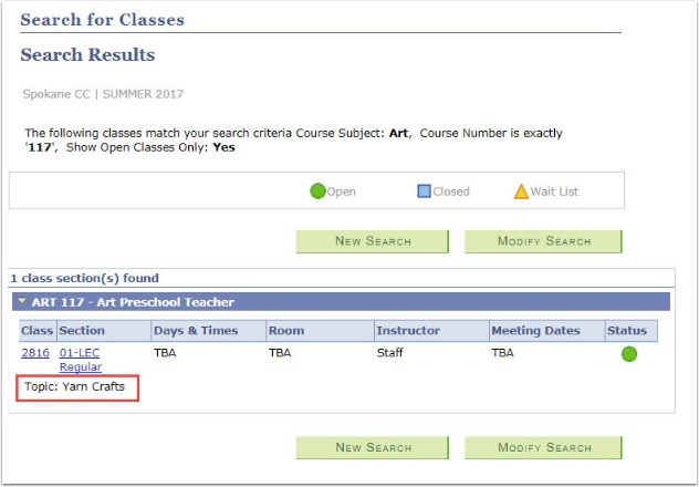 Search for Classes Search Results