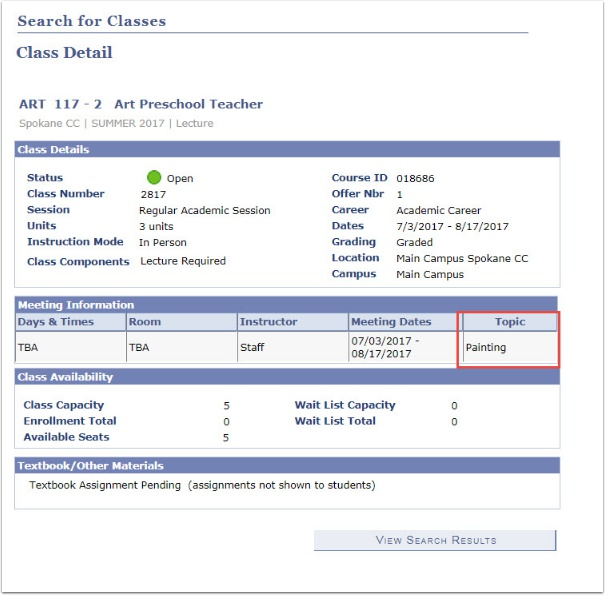 Class Detail Topic section