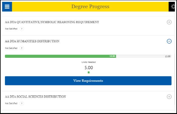 Degree progress page