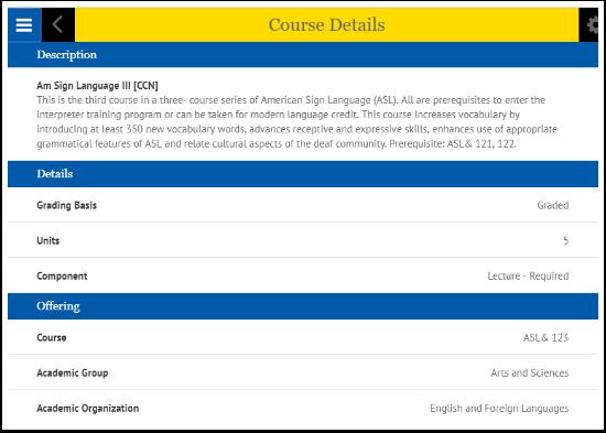 Course Details page