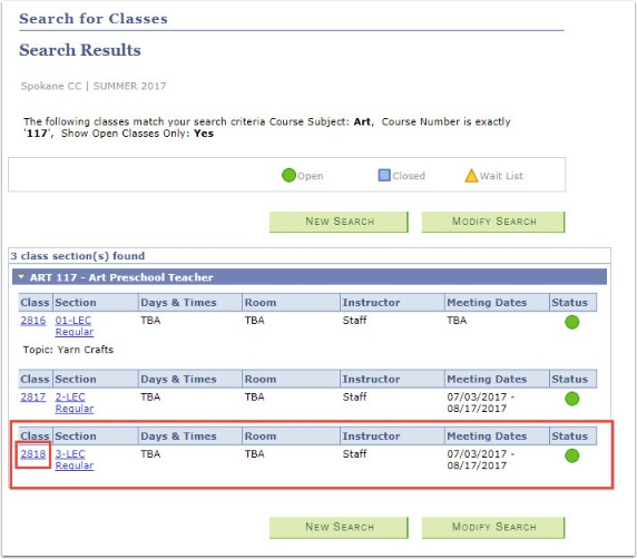 Search Results Class Section
