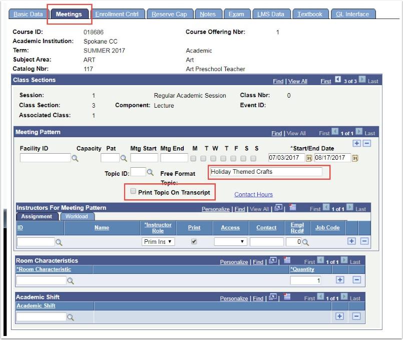 Meetings tab - Free Format Topic