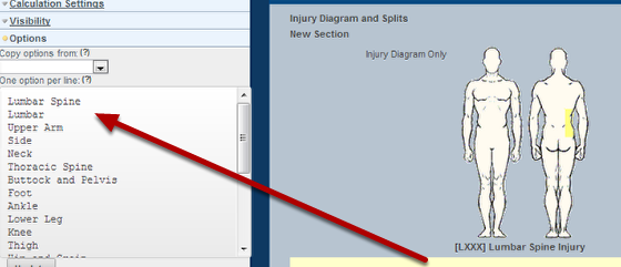 Creating automatic splits from the injury diagram for side aspect to add in a split for body area you need to add an quotoption ccuart Gallery
