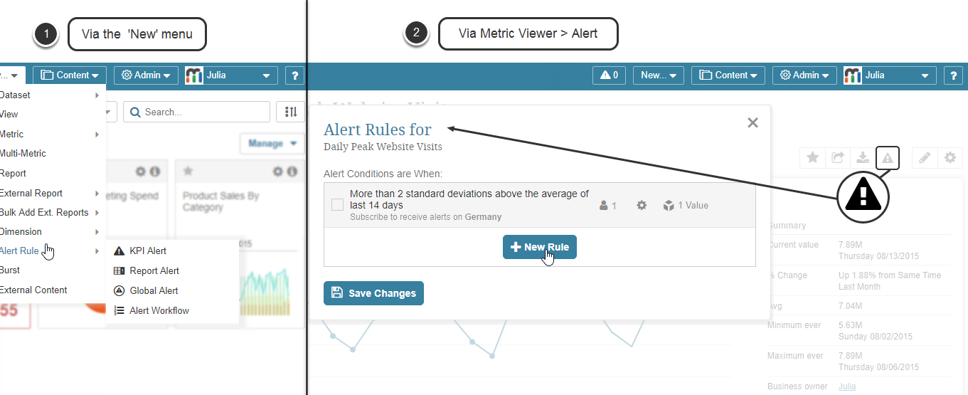 Create new KPI alert rule