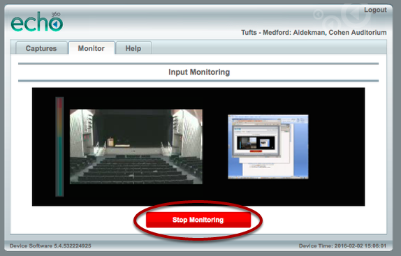"""When you've confirmed that the inputs are working, click the red """"Stop Monitoring"""" button."""