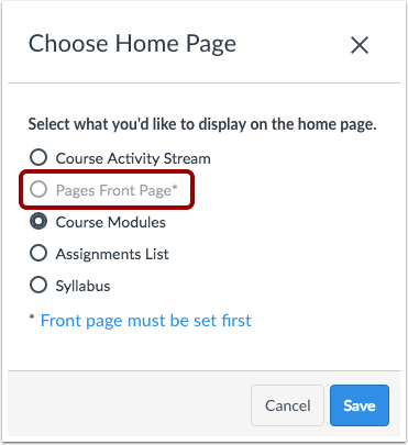 How Do I Change The Course Home Page