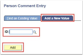 Person Comment Entry - Add a New Value tab