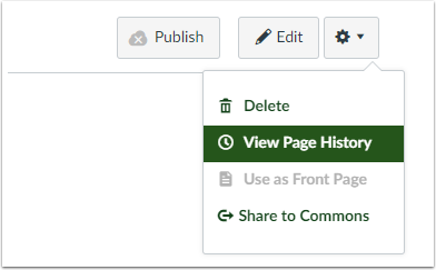 Canvas Page - View Page History button