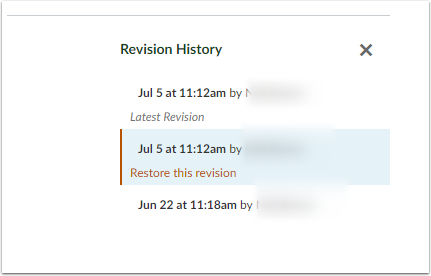 Canvas Page - Revision History Screen