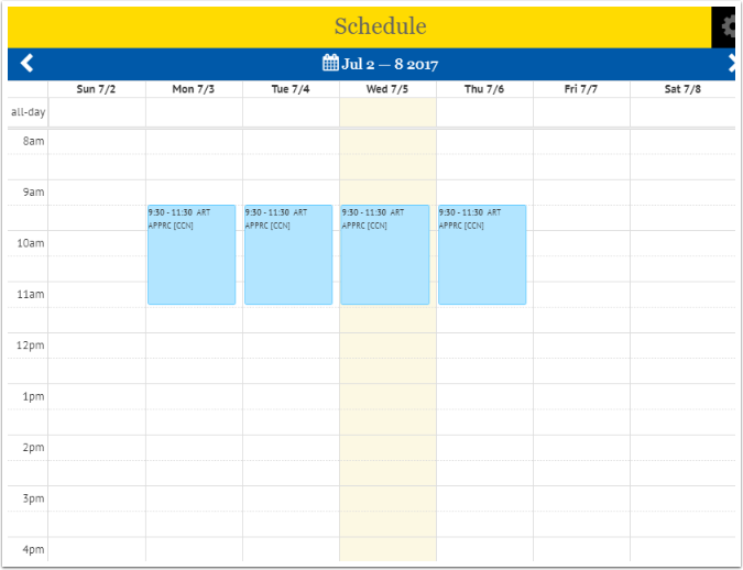 Schedule layout