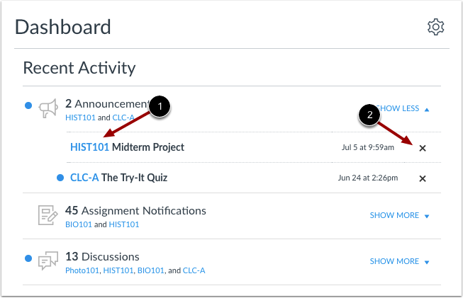 Manage Recent Activity