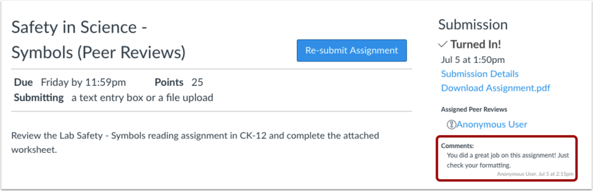 View Assignment Page