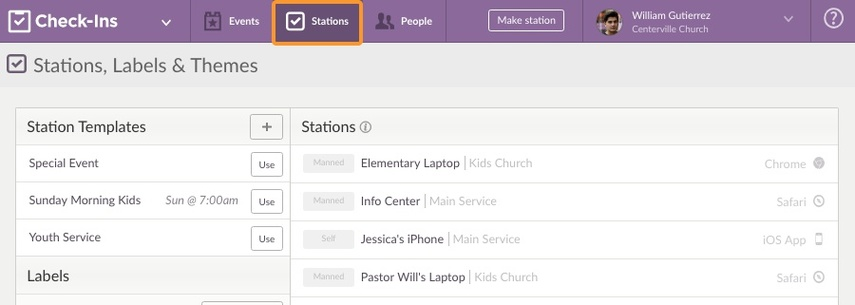 Stations Page