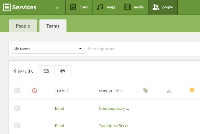 The Teams Page