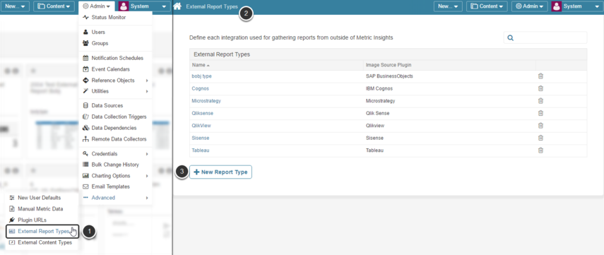 1. From the full Admin menu select 'External Report Types'