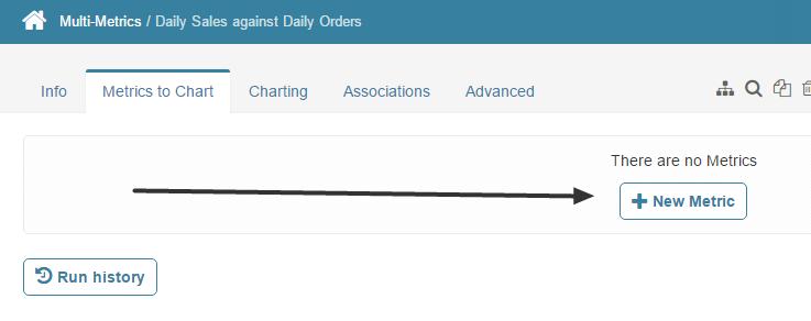 Select [+New metric] on 'Metrics to Chart' tab