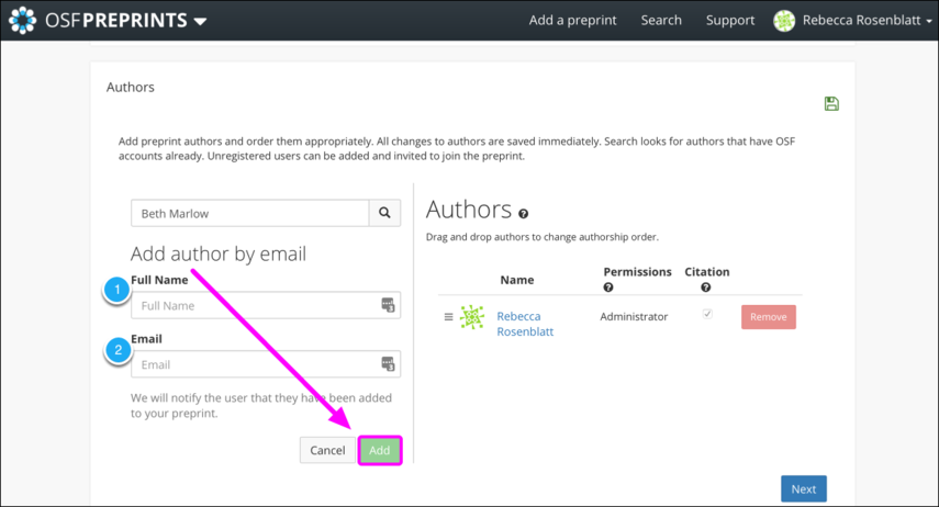 Add Author By Email