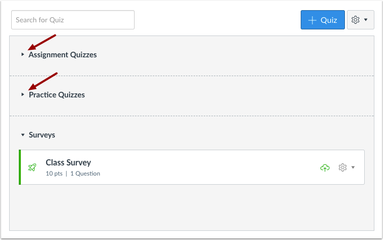 View Quizzes Groups